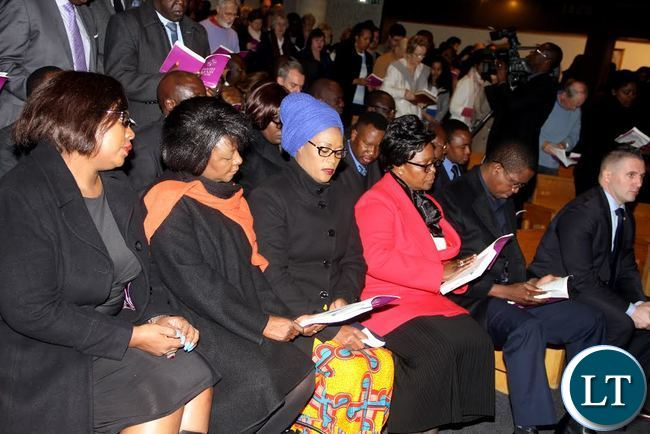L-R: Energy minister Dora Siliya , Commerce minister Margaret Mwanakatwe, PF deputy secretary General Mumbi Phiri, First Lady Esther Lungu and President Edgar Chagwa Lungu during Mass at St Joseph Catholic Church in Paris on Sunday, February 7,2016 -Picture by THOMAS NSAMA