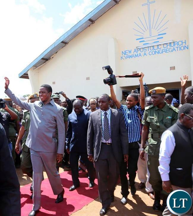 President Lungu waves at the crowd after attended the service at New Apostolic Church, Kyawama A Congregation in Solwezi on Sunday, February 21,2016 -Picture by EDDIE MWANALEZA