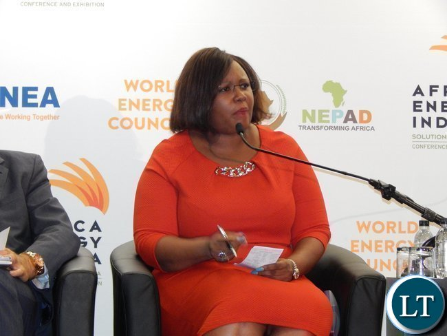Zambia's Minister of Energy and Water Development Ms. Dora Siliya during a panel discussion at the Africa Energy Conference in Johannesburg