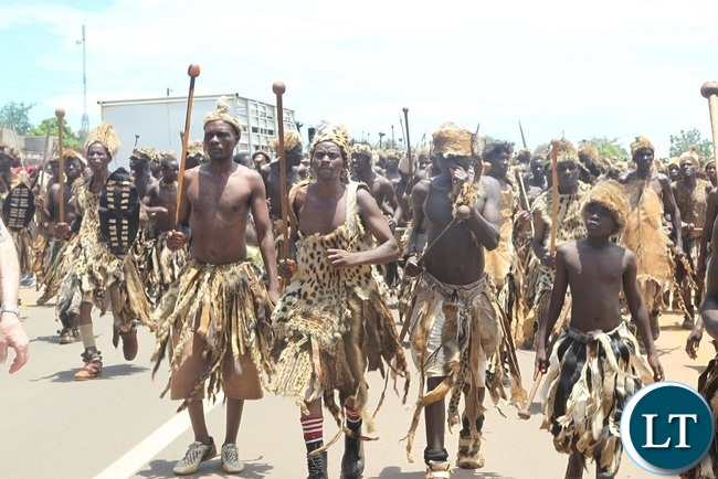 NGONI warriors doing what they know best during 2016 Nc`wala traditional ceremony in Chipata