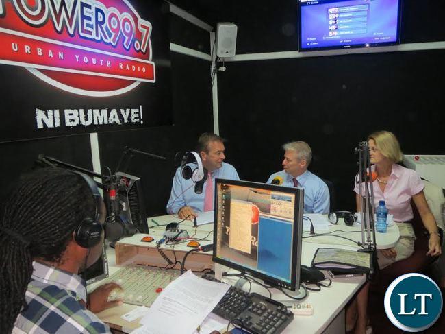 U.S. Ambassador Schultz, German Ambasssador Finke, and Acting British High Commissioner Joyce on Power FM radio