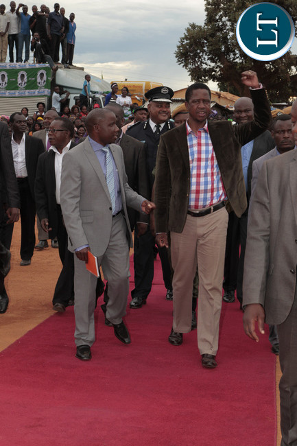 President Lungu on his arrival with Muchinga Provincial Minister Mwimba Malama at rally in Mpika main market y