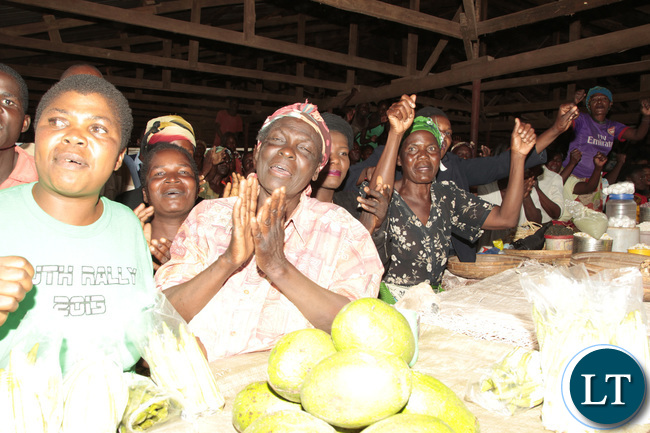 Mpika main Market marketers sing in joy to welcome President Lungu on his tour in the Market