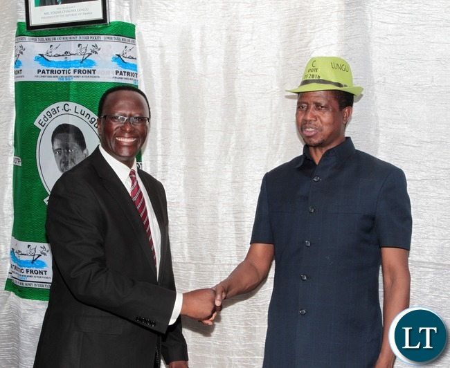 President Edgar Lungu Shake hands with Estern Province PS Chanda Kasolo at the fundraising dinner Protea Hotel in Chipata