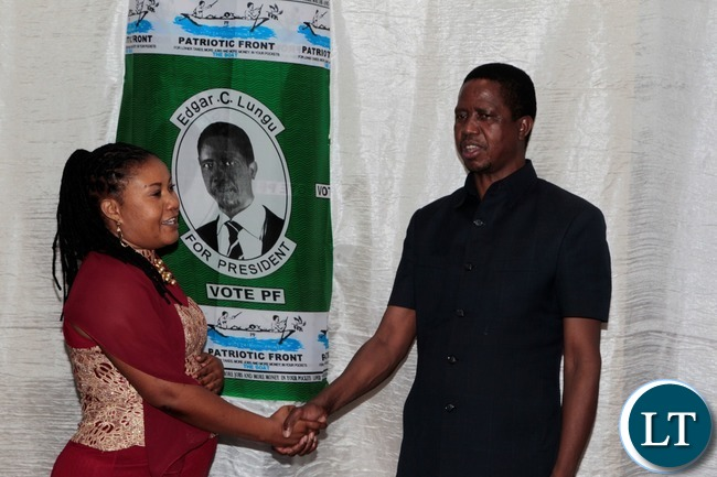 President Edgar Lungu Shake hands with Chipata Business man Musab at the fundraising dinner Protea Hotel in Chipata