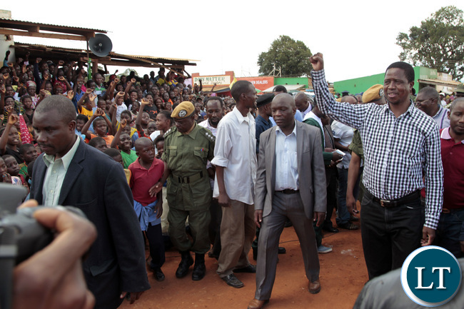 President Lungu on his arrival at a rally chinsali main Market