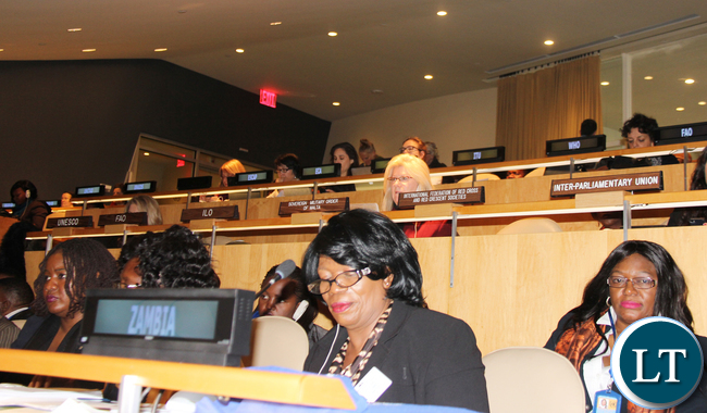 Gender Minister Prof. Nkandu Luo and Zambia?s Permanent Representative to the United Nations Dr Mwaba Kasese-Bota at the 60th Session of the Commission on the Status on Women at UN Headquarters 14 March, 2016. PHOTO | Chibaula D. Silwamba | Zambia UN Mission