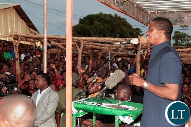 President Lungu addressing the marketers at Navutika Market in Chipata