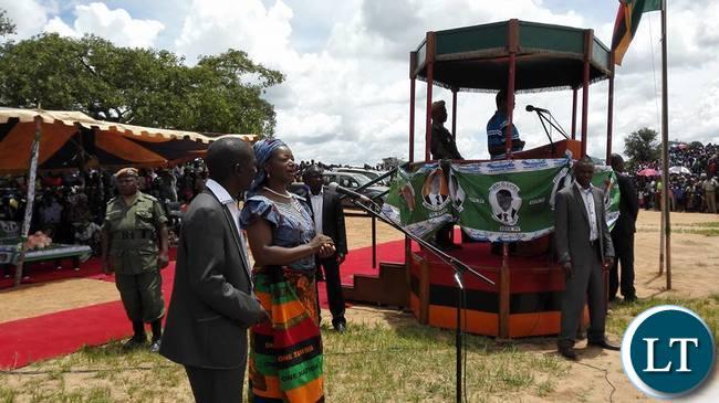 Catherine Namugala addressing a PF rally today