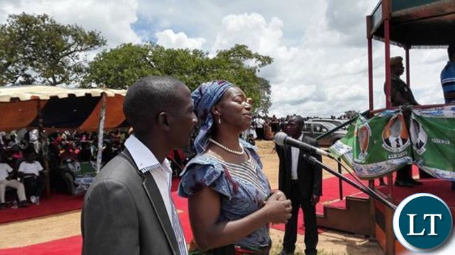 Catherine Namugala at a PF rally in Mafinga today