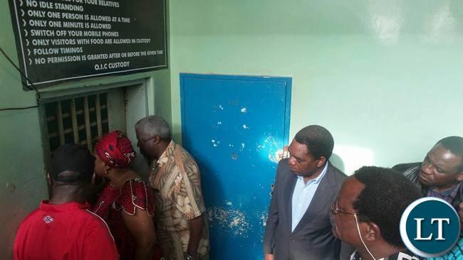 HH, Maureen Mwanawasa and major Richard Kachingwe visiting GBM in Police custody