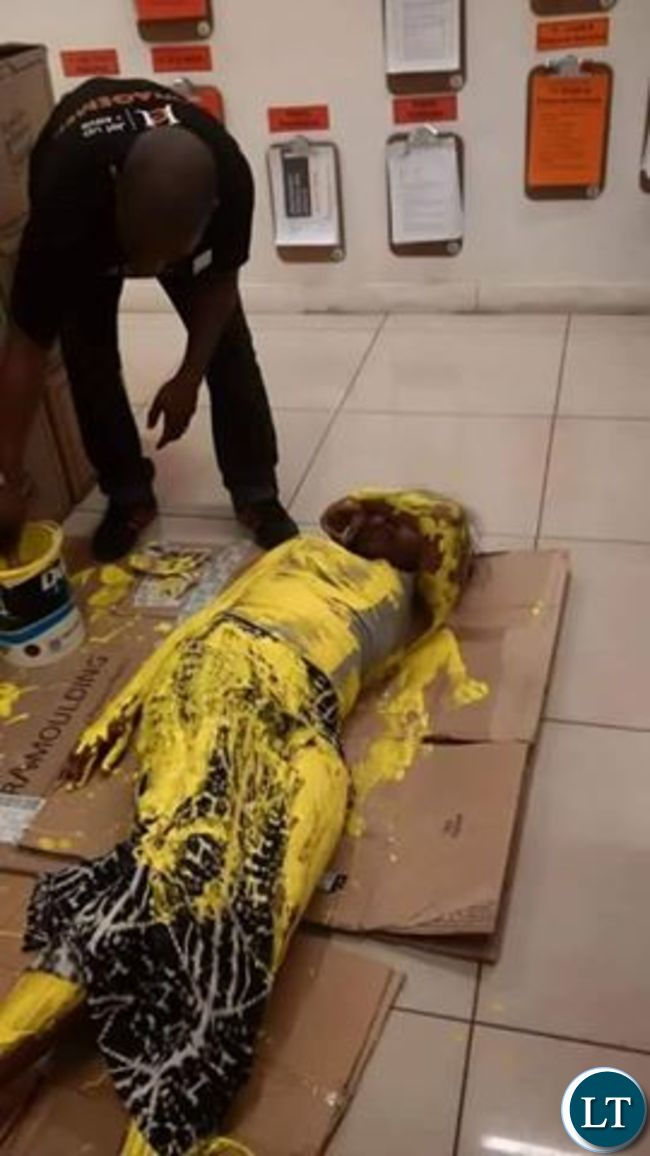 Girl painted in yellow after she was accused of stealing