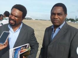 HH and Dr Banda giving interviews at KKIA