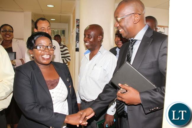 FAZ President Andrew kamanga meeting  staff at Football House