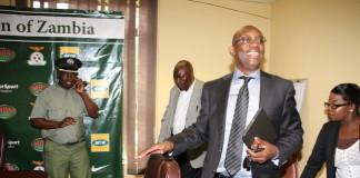 FAZ President Andrew kamanga at a media briefing at Football House