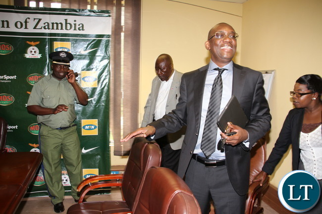 FAZ President Andrew kamanga at a media briefing at Football House