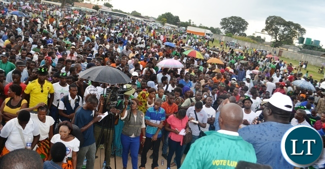 PART of the people attended Mukuba ground at a rally addressed by Information Minister Chishimba Kambwili in Kitwe on Saturday.Picture by KENNEDY MUPESENI