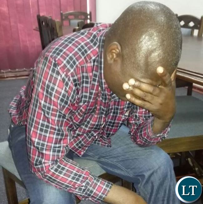 Mr Bwalya after he was allegedly beaten up by UPND cadres  at Sky FM studios