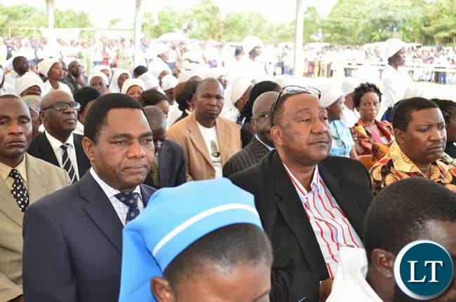 UPND President Hakainde Hichilema with his Vice President Geoffrey Bwalya Mwamba during the Consecration of Rev. Fr Justin Mulenga as Bishop at St Joseph's Cathedral in Mpika
