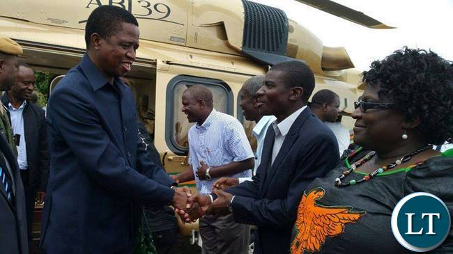 President Lungu being welcomed by area member of Parliament Greyford Moonde