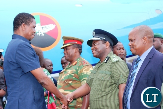 MEMBERS of the Eastern Province Joint Operations Committee (PJOC) welcome President Edgar Lungu when he arrived at Chipata airport
