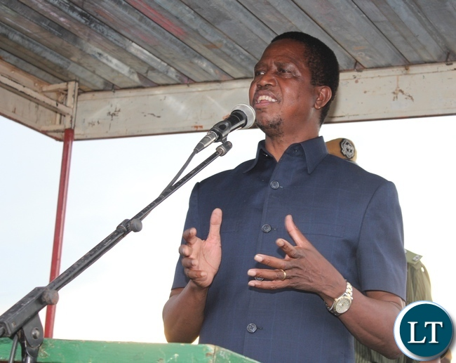 PRESIDENT Edgar Lungu addresses Patriotic Front (PF) members and government officials that welcomed him at Chipata airport