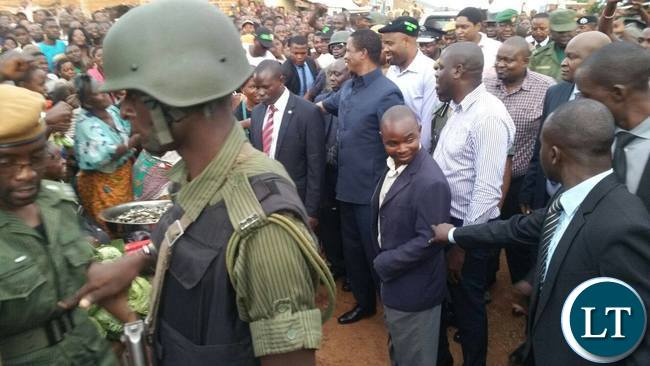 President Lungu greeting Kapata Market Traders and Residents of Chipata Central