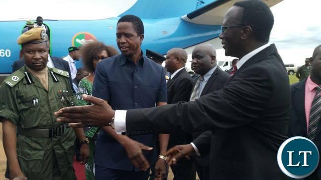 Presidenty Lungu being ushered by Eastern Province Permanent Secretary Chanda Kasolo on arrival in Chipata