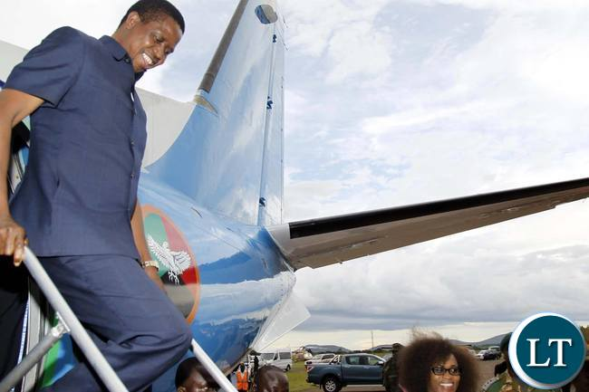President Edgar Chagwa Lungu (left) disembarks at Chipata Airport
