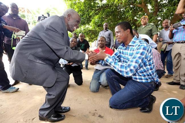 President Lungu meeting a local chief