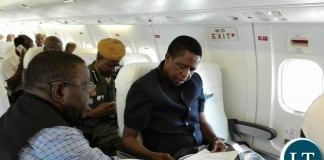 President Lungu on a Plane to Chipata