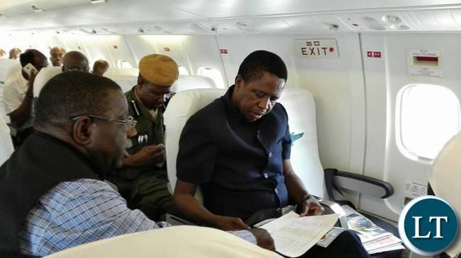 President Lungu on a Plane to Chipata