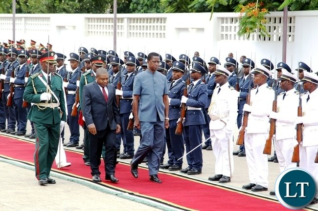 President Edgar Lungu being welcomed at Maputo international airport by Minister for international relations Oldomino Baloi on arrival at Maputo International Airport for a two day state visit.