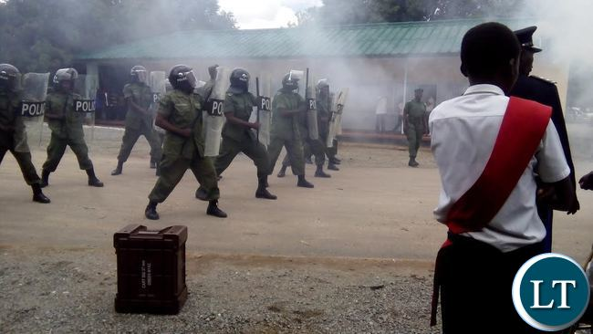SOME Police officers doing a demo of riot drills during Police Commemorations in Choma