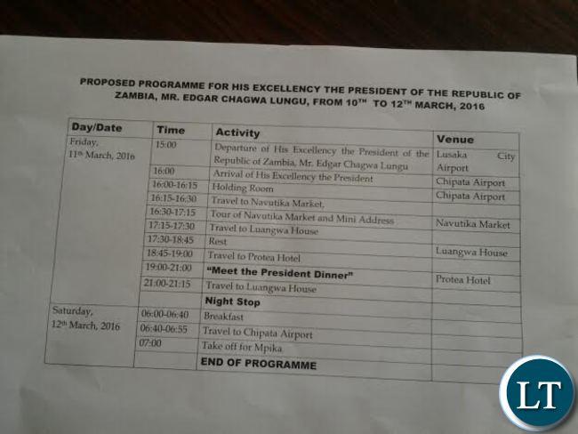 President Lungu's Travel Plan in Eastern Province