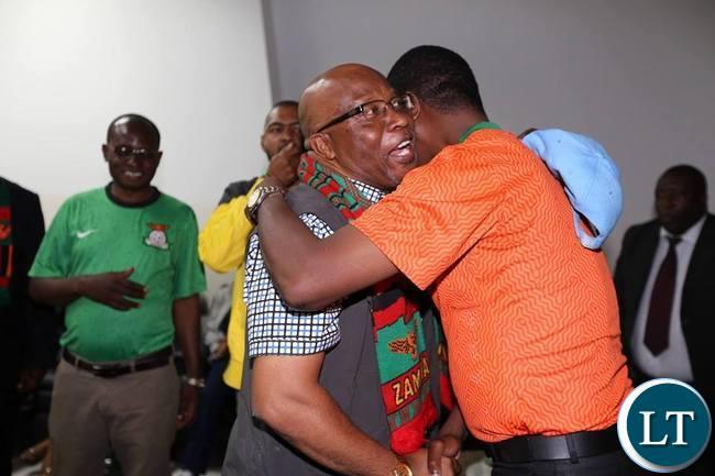 President Edgar Lungu with Nevers Mumba during the Zambia Vs Congo match in Ndola Stadium