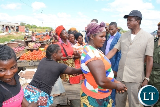 President Lungu greats Marketers10 miles shortly after official opening of Agritech Expo 2016 in Chisamba Central Province