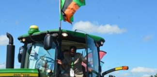 President Lungu having a feel of tractor shortly after official opening of Agritech Expo 2016 in Chisamba Central Province