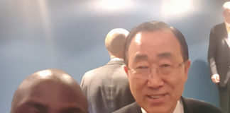 Chibaula Silwamba and Ban Ki Moon after Paris Agreement signing ceremony