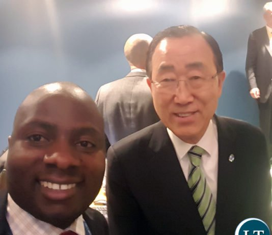 Chibaula Silwamba and Ban Ki Moon after Paris Agreement signing ceremony