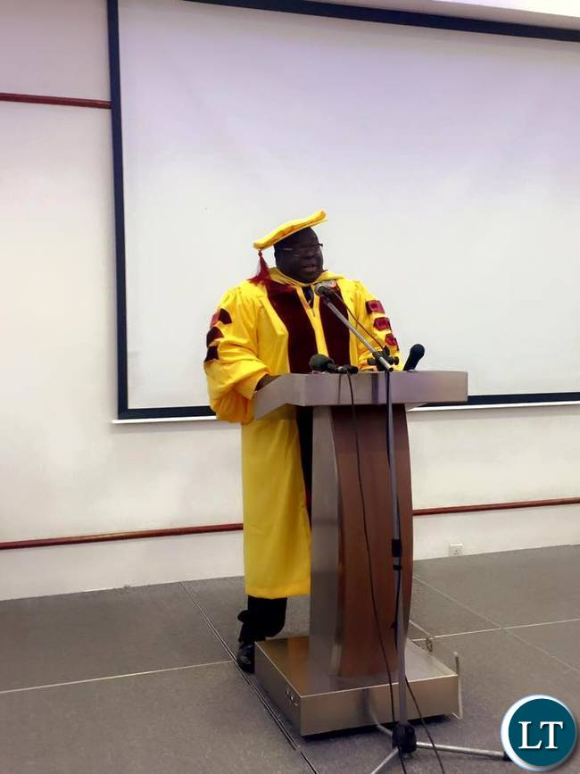 Dr Kambwili speaking at the award ceremony