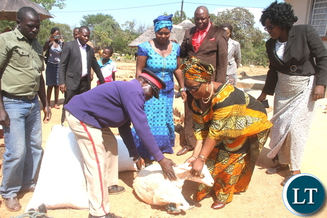 First Lady Esther Lungu receives gifts when she paid a courtesy call on Chief Chamuka at his palace in Chisamba District on Friday, April 29,2016 –Picture by THOMAS NSAMA