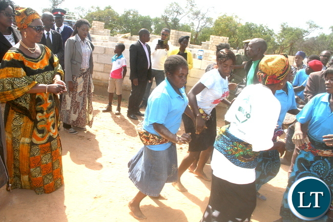 First Lady Esther Lungu being entertained by traditional dancers when she paid a courtesy call on Chief Chamuka at his palace in Chisamba District on Friday, April 29,2016 –Picture by THOMAS NSAMA