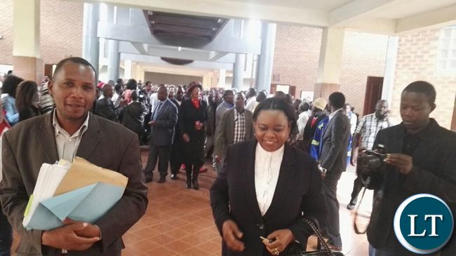 Former First Lady Maureen Mwanawasa at the court to offer support to GBM