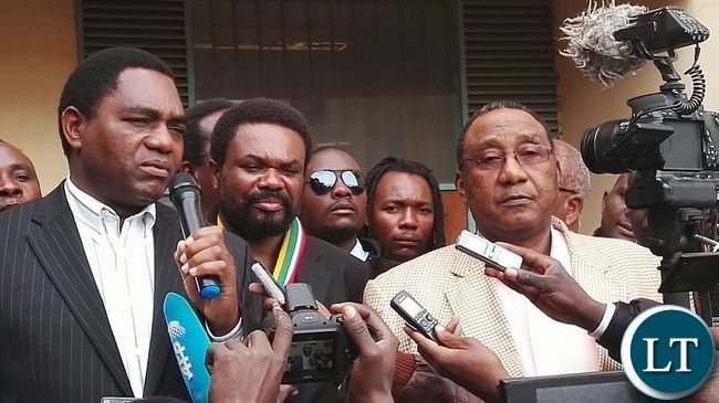 UPND Leadership talking to the media after the court session