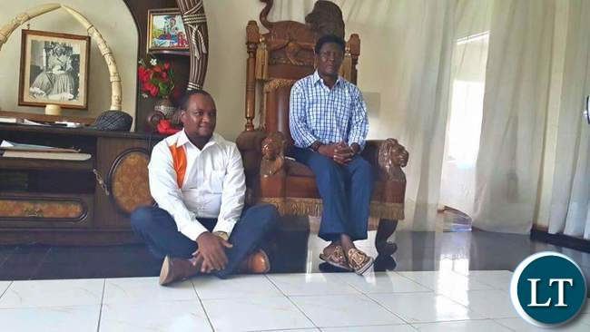 Miles Sampa pays a courtesy call on Mwata Kazembe at his  palace in Mwansabombwe recently
