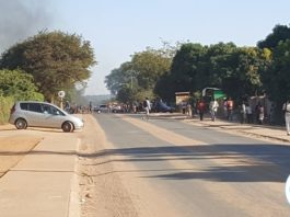 One of the main roads in Livingstone after the riots