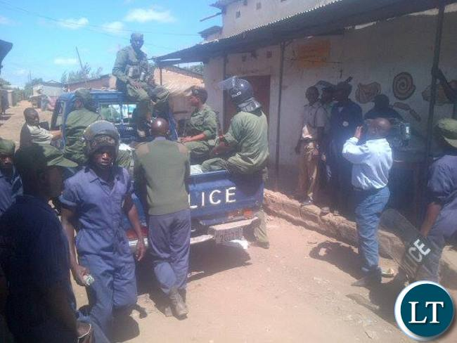 Police patrolling Mtendere East this morning