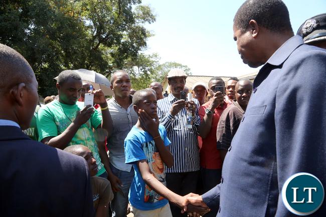 President Lungu Greets Riots Victim at Kalemba Hall
