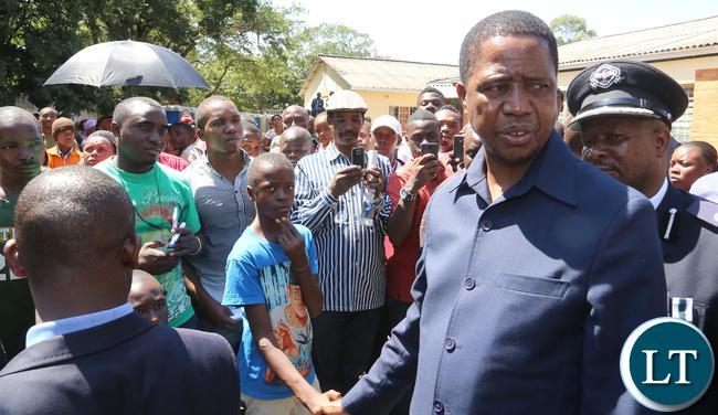 President Lungu Greets a Grade 5 Pupil a Victim Of Riots